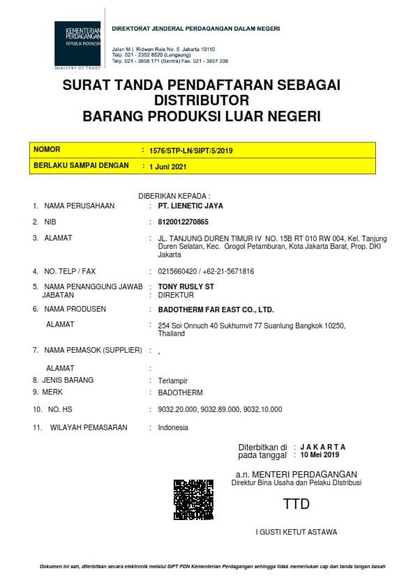 Surat Deperindag Badotherm sebagai Agen